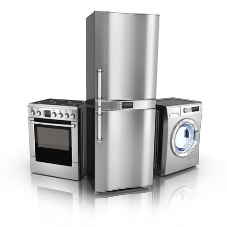 kühl: Unterhaltungselektronik K�hlschrank, Waschmaschine und Elektroherd in 3d getan Lizenzfreie Bilder