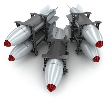 extermination: Rockets on white background  done in 3d