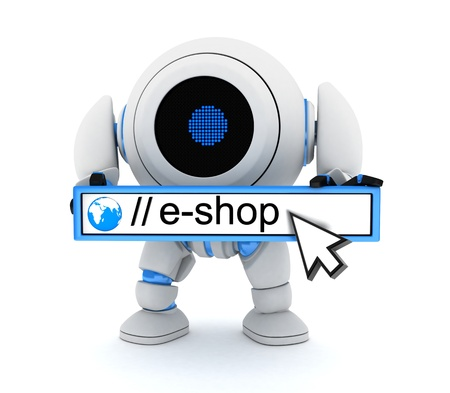 hook up: Robot and e-shop  done in 3d   Stock Photo