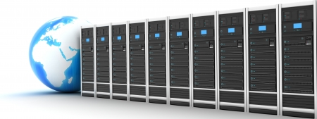 web servers: Server row and earth  done in 3d  Stock Photo