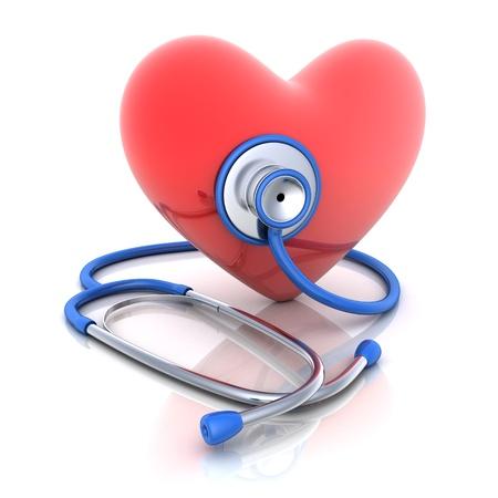 pulmon sano: Estetoscopio y coraz�n abstracto hecho en 3d