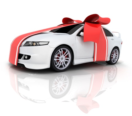 sell car: Car and red ribbon (done in 3d)  Stock Photo