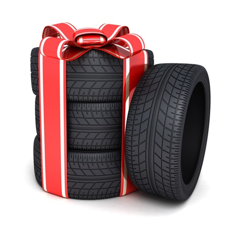 tire service: Gift tires and ribbon  done in 3d