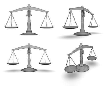 impartial: Scale with four view  done in 3d  Stock Photo