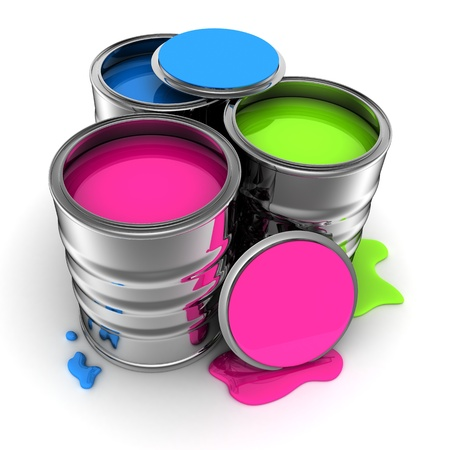 paint tin: Tin with Paint on white background  done in 3d      Stock Photo