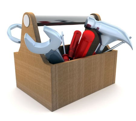 Toolbox, white and isolated  background  done in 3d  photo