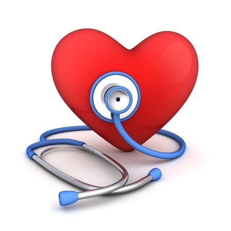 diagnosing: Stethoscope and abstract hearth  done in 3d