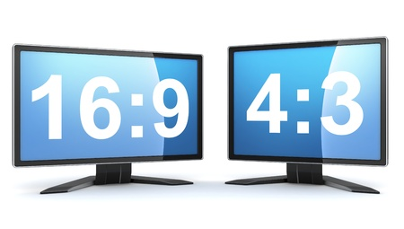 3 4: Two monitors 16 9 and 4 3  done in 3d  Stock Photo