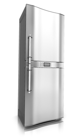 stell: Modern fridge on white background  done in 3d  Stock Photo