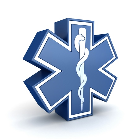 clinical staff: Symbol  Star of life   done in 3d