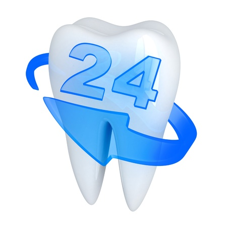 carious: Tooth and blue done in 3d, isolated