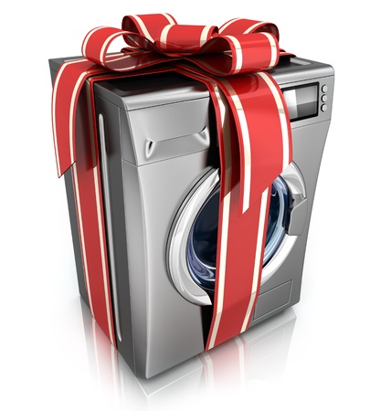stell: Modern washer on white background  done in 3d    Stock Photo