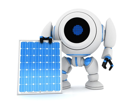 Robot and solar panel  done in 3d  photo