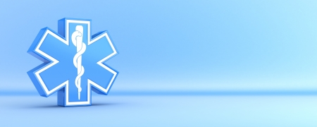 clinical staff: Star of life, blue background  done in 3d