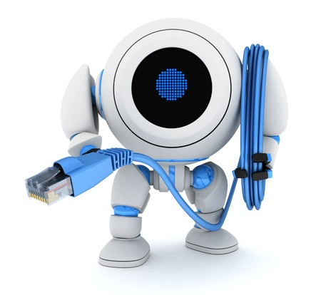 Robot and computer cable (done in 3d) Stock Photo - 17473905