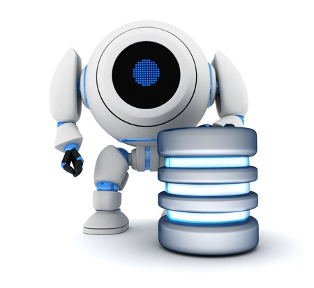 Robot and database abstract (done in 3d) Stock Photo