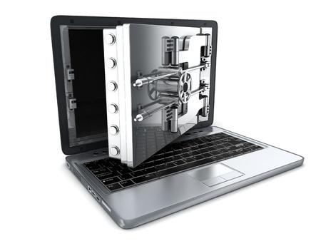 hacking: Computer portatile sicuro, aperto (fatto in 3d) Archivio Fotografico