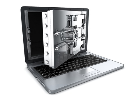 compute: Secure laptop, open (done in 3d) Stock Photo