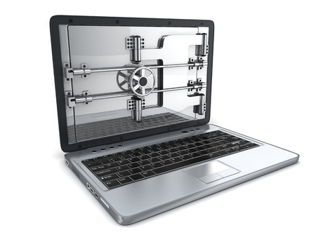 Abstract Secure laptop (done in 3d) photo