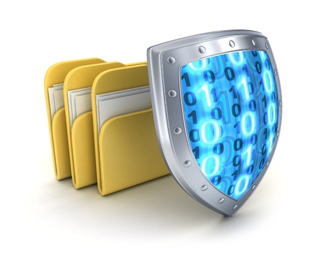 blue shield: Three file and shield (done in 3d)
