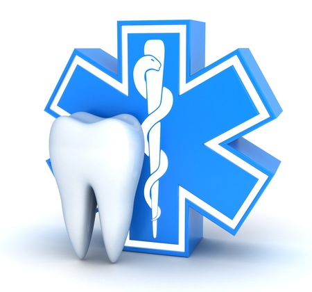 dentalcare: Tooth and star of life (done in 3d) Stock Photo