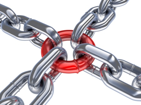 linking: Red chain  done in 3d, isolated