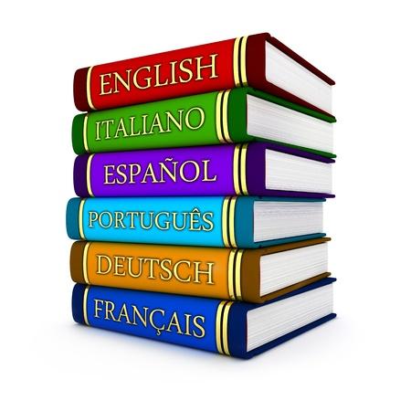 idiomas: Libros de texto europeos de idiomas realizados en 3d