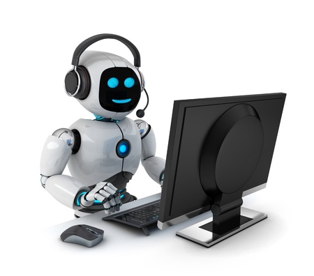 helpdesk: Robot with headphones (done in 3d) Stock Photo