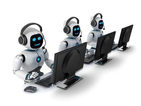 Robots met koptelefoon (gedaan in 3d) Stockfoto