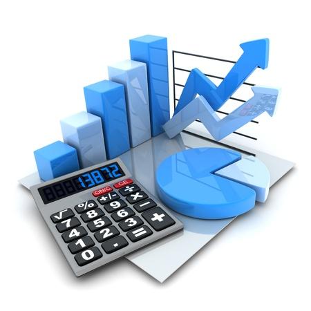contabilidad: Diagramas de s�mbolos (hecho en 3d fondo, blanco) Foto de archivo
