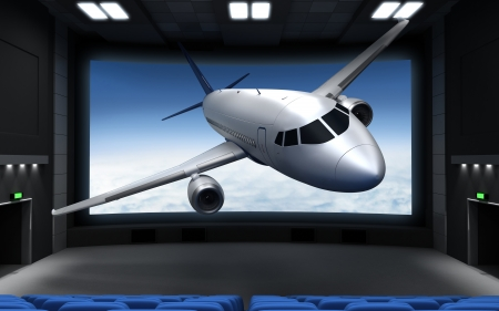 cinematograph: Cinema and airplane (done in 3d)