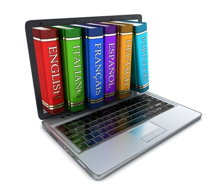 linguistic: Laptop and foreign language (done in 3d) Stock Photo