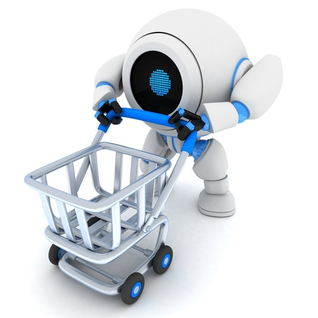 Robot and empty cart (done in 3d) Stock Photo