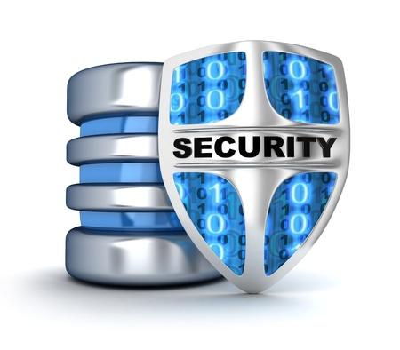 védelme: Shield és adatbázis (sor 3d) Stock fotó