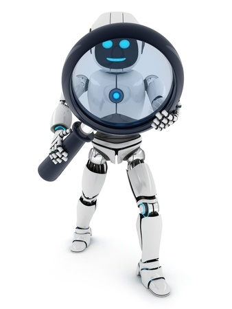 retrieve: Robot and lens on white background  done in 3d    Stock Photo