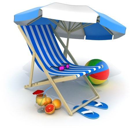 deckchair: Beach bed blue  done in 3d, isolated   Stock Photo