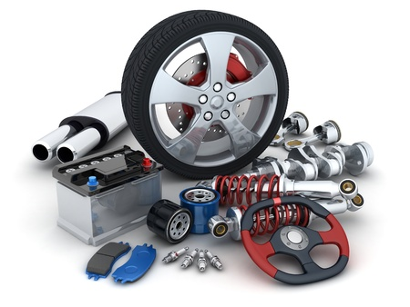 spare parts: Many auto parts  done in 3d