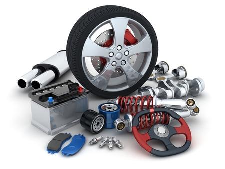 Viele Auto-Teile in 3d getan