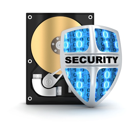 def: HDD and security symbol  done in 3d