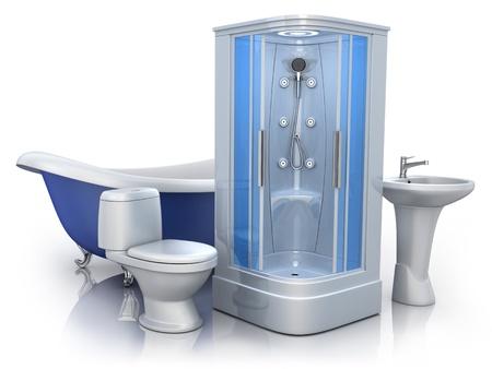 cabine de douche: Équipement de la salle sur fond blanc fait en 3d Banque d'images