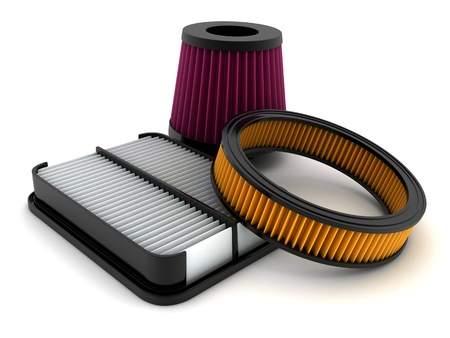 air cleaner: Coche del filtro de aire hace en 3d Foto de archivo