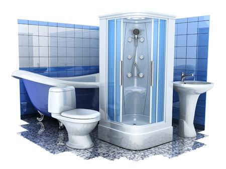Ausstattung des Bades auf weißem Hintergrund in 3d getan Standard-Bild