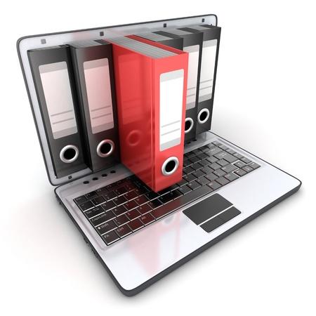 Laptop 3d und Dateien in 3D