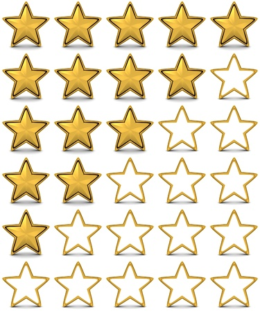 ranking: Gold Star, rating  done in 3d  Stock Photo