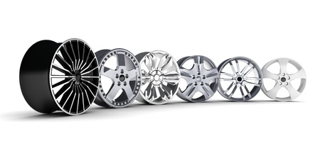 Six car disc on a white background (done in 3d)