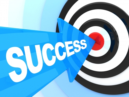 success concept: Abstract success. Blue arrow in target (done in 3d) Stock Photo