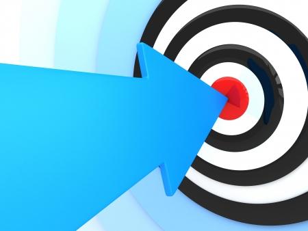 Résumé succès. Flèche bleue dans la cible (fait en 3d)