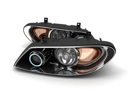 Scheinwerfer Auto (done in 3d, weißer Hintergrund) Standard-Bild