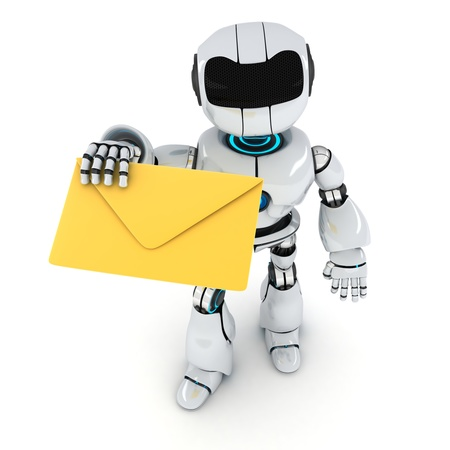 convey: Robot and mail on white background (done in 3d) Stock Photo