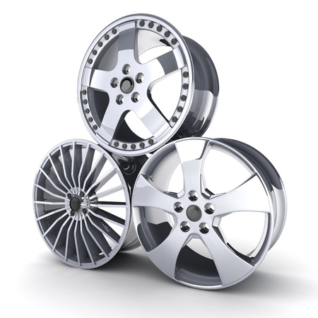 three motor car disc on a white background